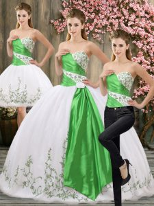 White Three Pieces Embroidery and Belt Quinceanera Dress Lace Up Organza Sleeveless Floor Length