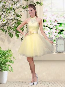 Sleeveless Lace and Belt Lace Up Quinceanera Court Dresses