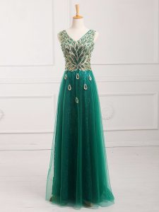 Dark Green Tulle Zipper Evening Dress Sleeveless Floor Length Lace