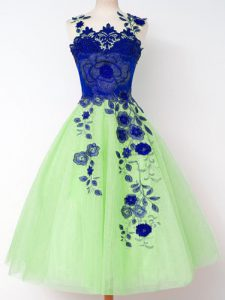 Shining Lace Up Quinceanera Dama Dress Appliques Sleeveless Knee Length