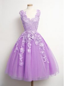 A-line Dama Dress Lilac V-neck Tulle Sleeveless Knee Length Lace Up