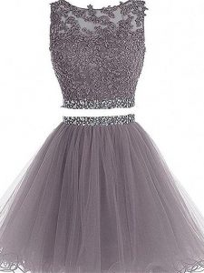 Grey Sleeveless Tulle Zipper Prom Dress for Prom and Party and Sweet 16