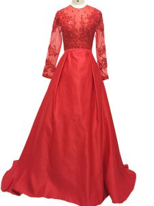 Shining Long Sleeves Elastic Woven Satin Brush Train Zipper Prom Party Dress in Red with Lace and Appliques