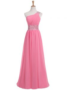 Most Popular Floor Length Rose Pink Prom Gown One Shoulder Sleeveless Backless