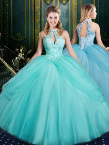 Sleeveless Tulle Floor Length Lace Up 15th Birthday Dress in Aqua Blue with Beading and Pick Ups