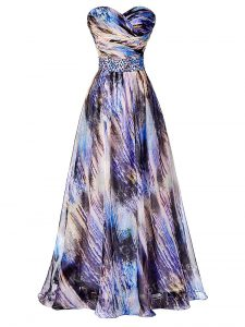 Attractive Printed Sleeveless Prom Gown and Beading and Ruching