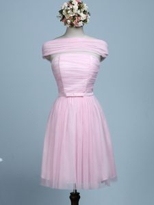 Baby Pink Sleeveless Tulle Side Zipper Quinceanera Court Dresses for Prom and Party and Wedding Party