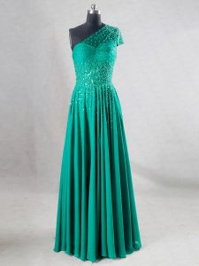 Floor Length Backless Evening Dress Turquoise for Prom and Party and Military Ball and Sweet 16 and Beach with Beading and Pleated