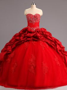 Sweet Sleeveless Taffeta and Tulle Court Train Lace Up Ball Gown Prom Dress in Red with Beading and Appliques and Pick Ups