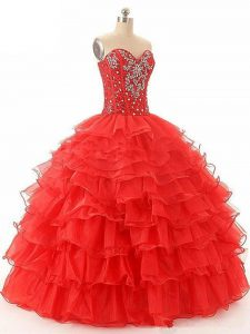 Custom Fit Red Organza Lace Up 15 Quinceanera Dress Sleeveless Floor Length Beading and Ruffled Layers