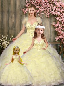 Most Popular Light Yellow Ball Gowns Beading and Ruffles 15th Birthday Dress Lace Up Tulle Sleeveless Floor Length