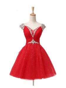 Mini Length Red Homecoming Dress Tulle Cap Sleeves Beading and Sequins