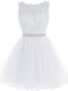 Glorious White A-line Beading and Lace and Appliques Prom Dresses Zipper Tulle Sleeveless Mini Length