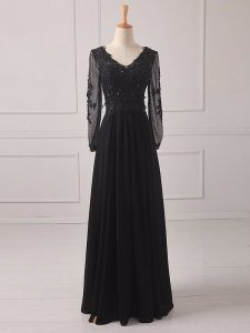 Black Zipper Prom Party Dress Lace and Appliques Long Sleeves Floor Length