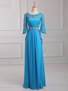 Baby Blue 3 4 Length Sleeve Chiffon Zipper for Prom and Military Ball and Beach