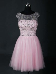 On Sale Baby Pink Scoop Neckline Beading Prom Dresses Short Sleeves Lace Up