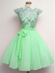 Top Selling Knee Length A-line Cap Sleeves Apple Green Quinceanera Court Dresses Lace Up