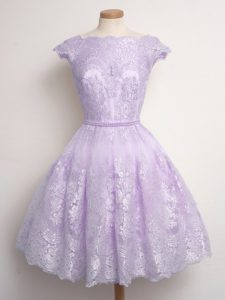 Lavender Lace Up Scalloped Lace Dama Dress for Quinceanera Lace Cap Sleeves