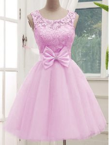 Glittering Lilac A-line Scoop Sleeveless Tulle Knee Length Lace Up Lace and Bowknot Quinceanera Court Dresses