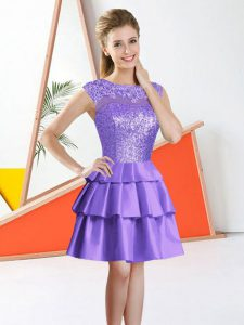 Sumptuous Knee Length Lavender Court Dresses for Sweet 16 Bateau Sleeveless Backless