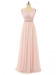 Pink Empire Chiffon V-neck Sleeveless Beading and Appliques Floor Length Zipper Prom Evening Gown