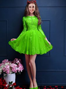 Green A-line Scalloped 3 4 Length Sleeve Chiffon Mini Length Lace Up Beading and Lace and Appliques Quinceanera Court of Honor Dress
