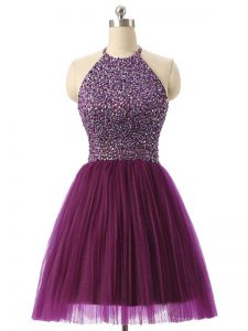 Sophisticated Halter Top Sleeveless Tulle Beading and Sequins Backless