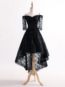 Black Straps Neckline Lace Homecoming Dress Half Sleeves Lace Up
