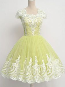 Admirable Knee Length Yellow Green Quinceanera Court Dresses Square Cap Sleeves Zipper