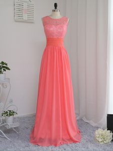 Scoop Sleeveless Quinceanera Court Dresses Floor Length Lace Watermelon Red Chiffon
