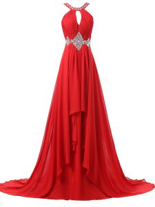 Red Sleeveless Beading and Ruching Lace Up Homecoming Dress