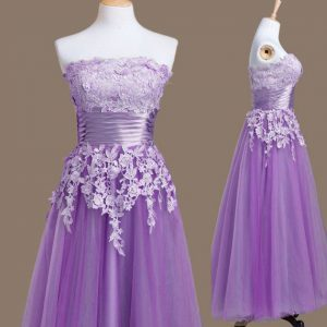 Lavender Tulle Lace Up Strapless Sleeveless Tea Length Damas Dress Appliques