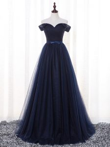 A-line Quinceanera Dama Dress Navy Blue Off The Shoulder Tulle Sleeveless Floor Length Lace Up