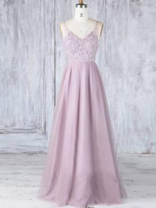 Fine Sleeveless Tulle Floor Length Clasp Handle Court Dresses for Sweet 16 in Pink with Lace