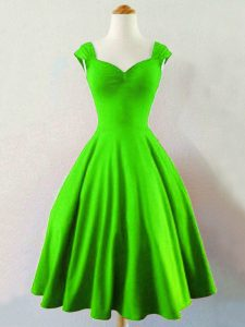 Green Lace Up Straps Ruching Dama Dress for Quinceanera Taffeta Sleeveless