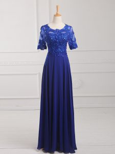 Exceptional Floor Length Zipper Royal Blue for Prom and Military Ball and Sweet 16 with Lace and Appliques