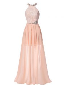 Sleeveless Chiffon Floor Length Backless Prom Evening Gown in Peach with Beading