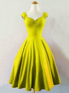 Straps Sleeveless Dama Dress for Quinceanera Knee Length Ruching Olive Green Taffeta