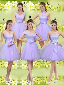 Lilac Sleeveless Tulle Lace Up Dama Dress for Prom and Party