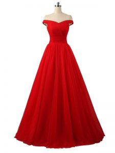 Custom Designed Floor Length Red Prom Party Dress Off The Shoulder Sleeveless Lace Up
