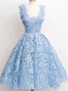 Modest Light Blue Straps Zipper Lace Court Dresses for Sweet 16 Sleeveless