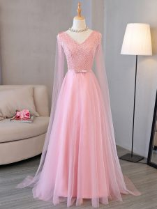 Long Sleeves Lace Up Floor Length Beading Prom Dress