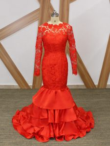 Taffeta Long Sleeves Floor Length Prom Dress and Lace and Appliques