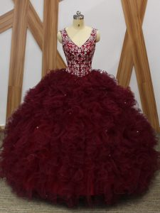 Elegant Floor Length Burgundy Quinceanera Dresses Organza Sleeveless Beading and Ruffles