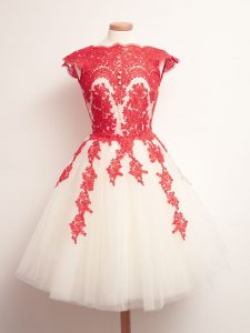 Delicate Mini Length A-line Sleeveless White And Red Quinceanera Dama Dress Lace Up
