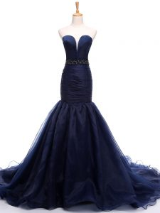 Navy Blue Mermaid Beading and Ruching Evening Dress Lace Up Tulle Sleeveless