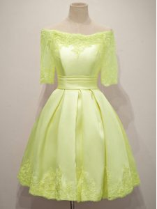 A-line Quinceanera Court of Honor Dress Yellow Off The Shoulder Taffeta Half Sleeves Knee Length Lace Up