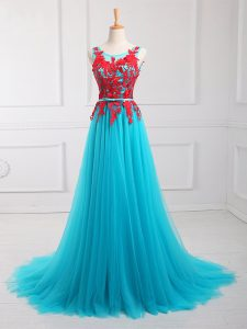 Aqua Blue Empire Scoop Sleeveless Tulle Brush Train Zipper Lace and Appliques Prom Dress