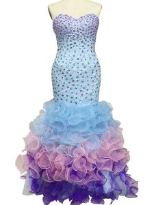 Multi-color Lace Up Dress for Prom Beading and Ruffles Sleeveless Floor Length