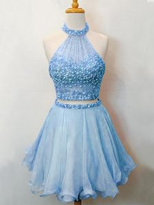 Eye-catching Blue Sleeveless Knee Length Beading Lace Up Dama Dress for Quinceanera